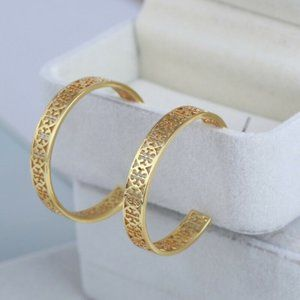 Tory Burch Gold Kinsley Logo Hoop Earrings